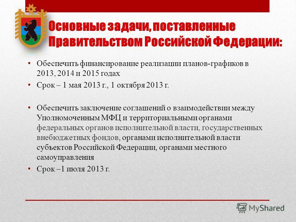 Обеспечить финансирование реализации планов-графиков в 2013, 2014 и 2015 годах Срок – 1 мая 2013 г., 1 октября 2013 г. Обеспечить заключение соглашений о взаимодействии между Уполномоченным МФЦ и территориальными органами федеральных органов исполнит