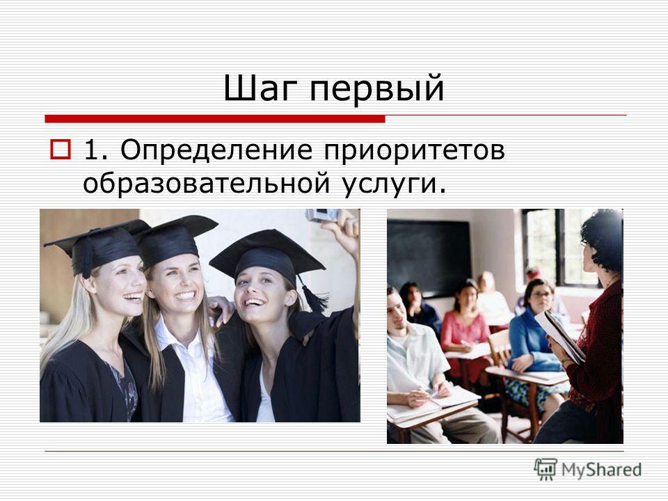 Шаг первый 1. Определение приоритетов образовательной услуги.