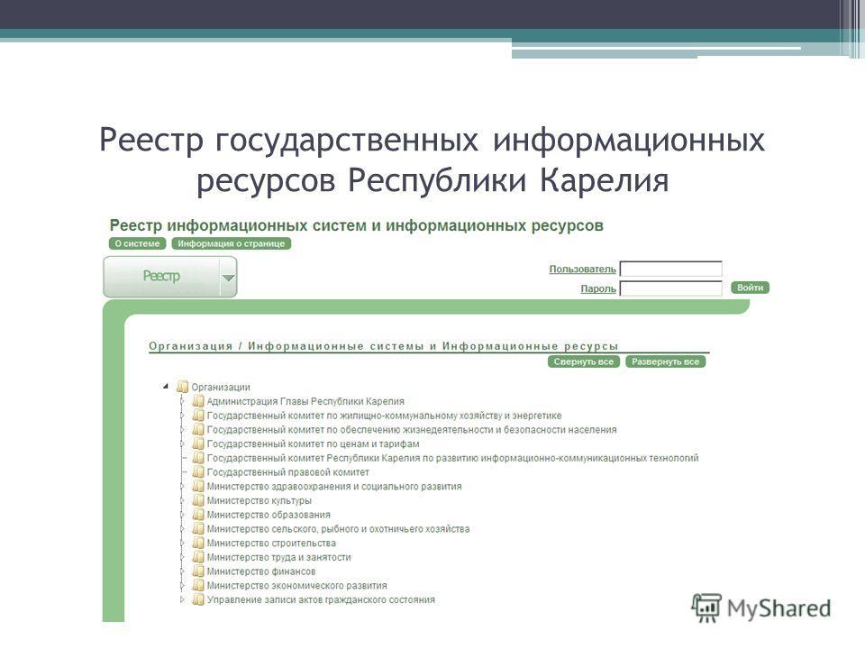 Реестр государственных информационных ресурсов Республики Карелия