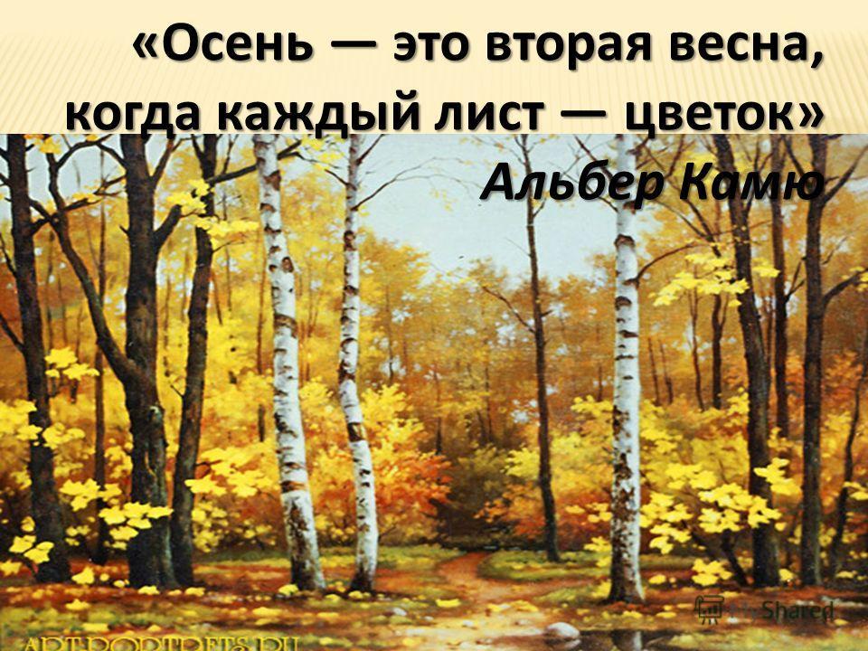«Осень это вторая весна, когда каждый лист цветок» Альбер Камю