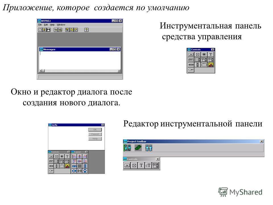 Приложение, которое создается по умолчанию Окно и редактор диалога после создания нового диалога. Инструментальная панель средства управления Редактор инструментальной панели