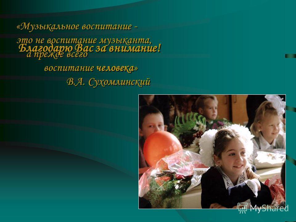 «Музыкальное воспитание - это не воспитание музыканта, а прежде всего воспитание человека» В.А. Сухомлинский «Музыкальное воспитание - это не воспитание музыканта, а прежде всего воспитание человека» В.А. Сухомлинский Благодарю Вас за внимание!