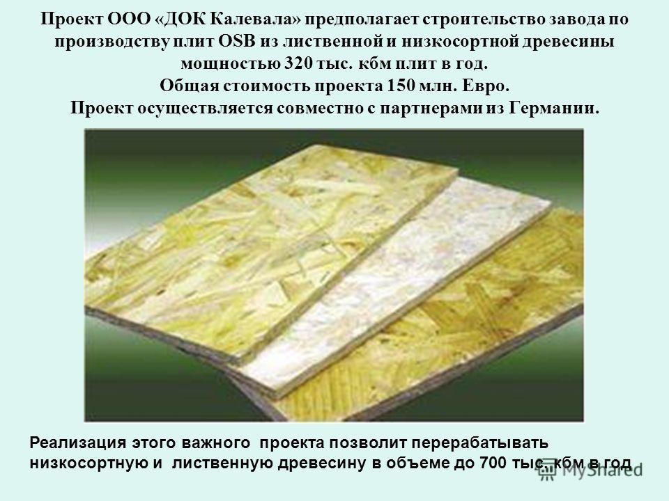 Проект ООО «ДОК Калевала» предполагает строительство завода по производству плит OSB из лиственной и низкосортной древесины мощностью 320 тыс. кбм плит в год. Общая стоимость проекта 150 млн. Евро. Проект осуществляется совместно с партнерами из Герм