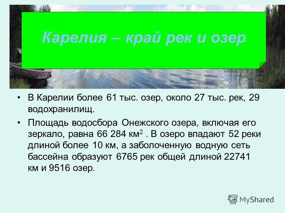 В Карелии более 61 тыс. озер, около 27 тыс. рек, 29 водохранилищ. Площадь водосбора Онежского озера, включая его зеркало, равна 66 284 км 2. В озеро впадают 52 реки длиной более 10 км, а заболоченную водную сеть бассейна образуют 6765 рек общей длино