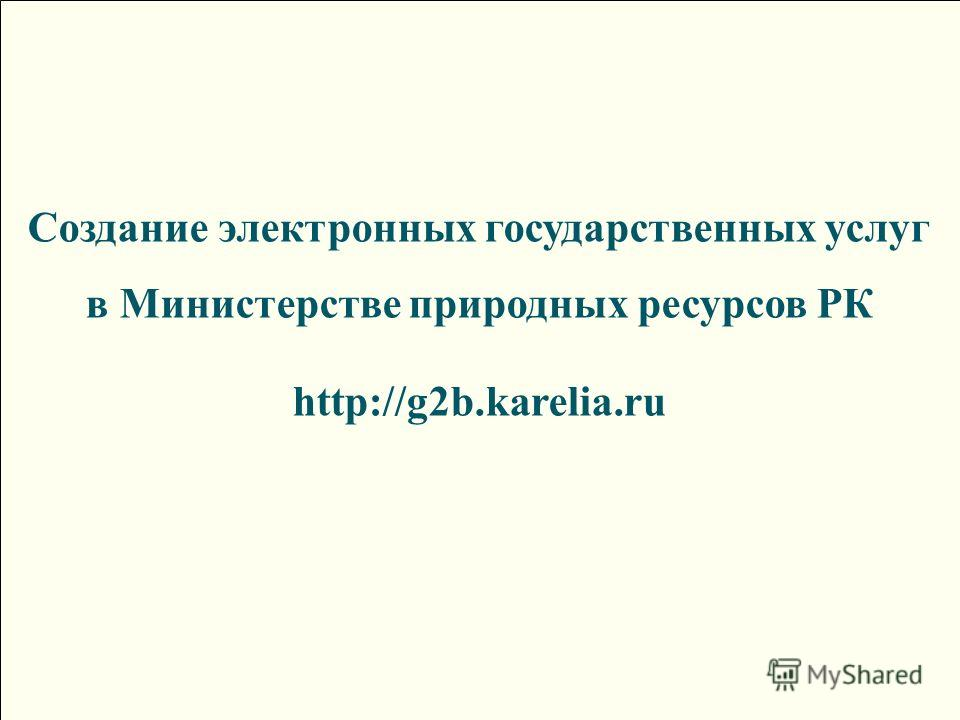 Создание электронных государственных услуг в Министерстве природных ресурсов РК http://g2b.karelia.ru