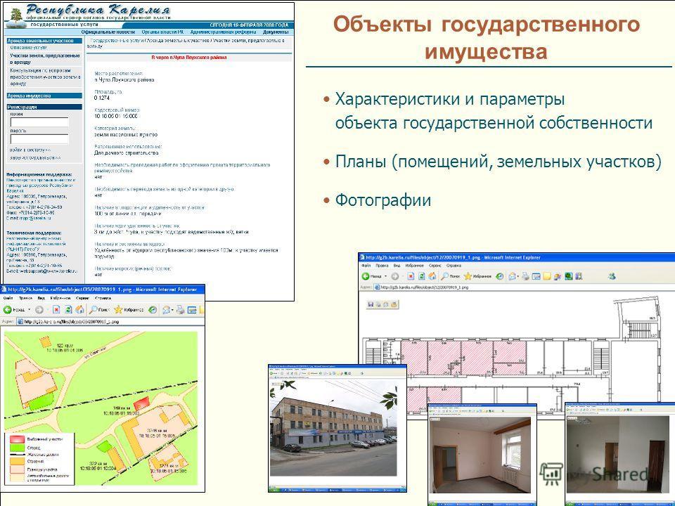 Объекты государственного имущества Характеристики и параметры объекта государственной собственности Планы (помещений, земельных участков) Фотографии
