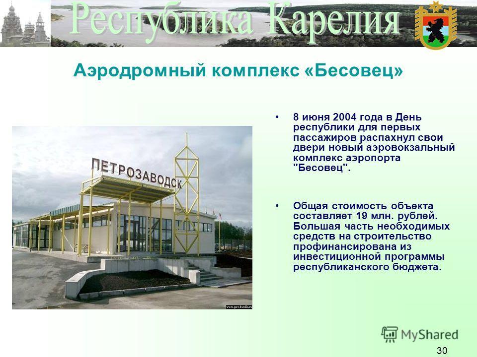 30 Аэродромный комплекс «Бесовец» 8 июня 2004 года в День республики для первых пассажиров распахнул свои двери новый аэровокзальный комплекс аэропорта