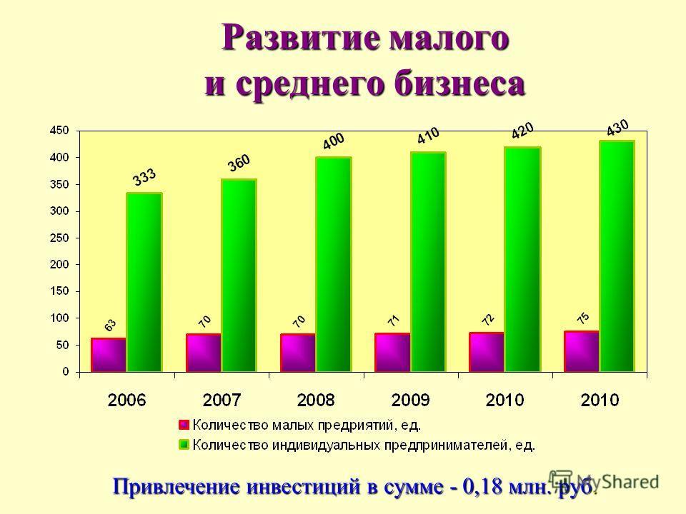 Развитие малого и среднего бизнеса Привлечение инвестиций в сумме - 0,18 млн. руб.