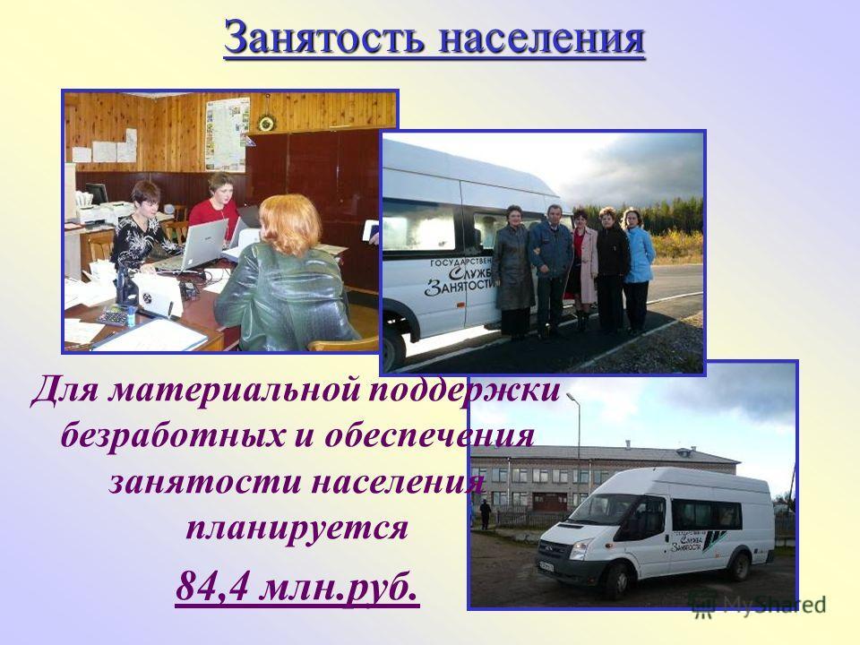 Занятость населения Для материальной поддержки безработных и обеспечения занятости населения планируется 84,4 млн.руб.