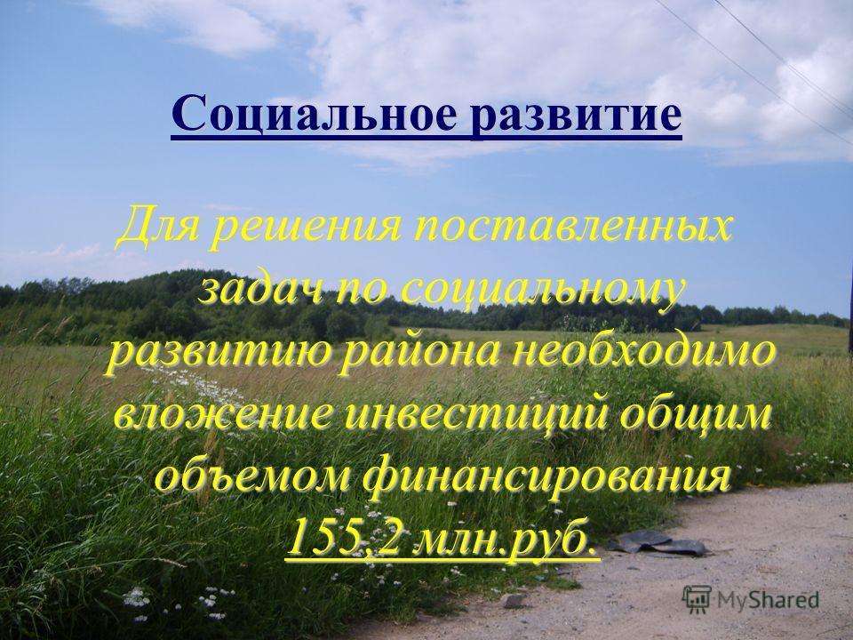 Социальное развитие Для решения поставленных задач по социальному развитию района необходимо вложение инвестиций общим объемом финансирования 155,2 млн.руб.