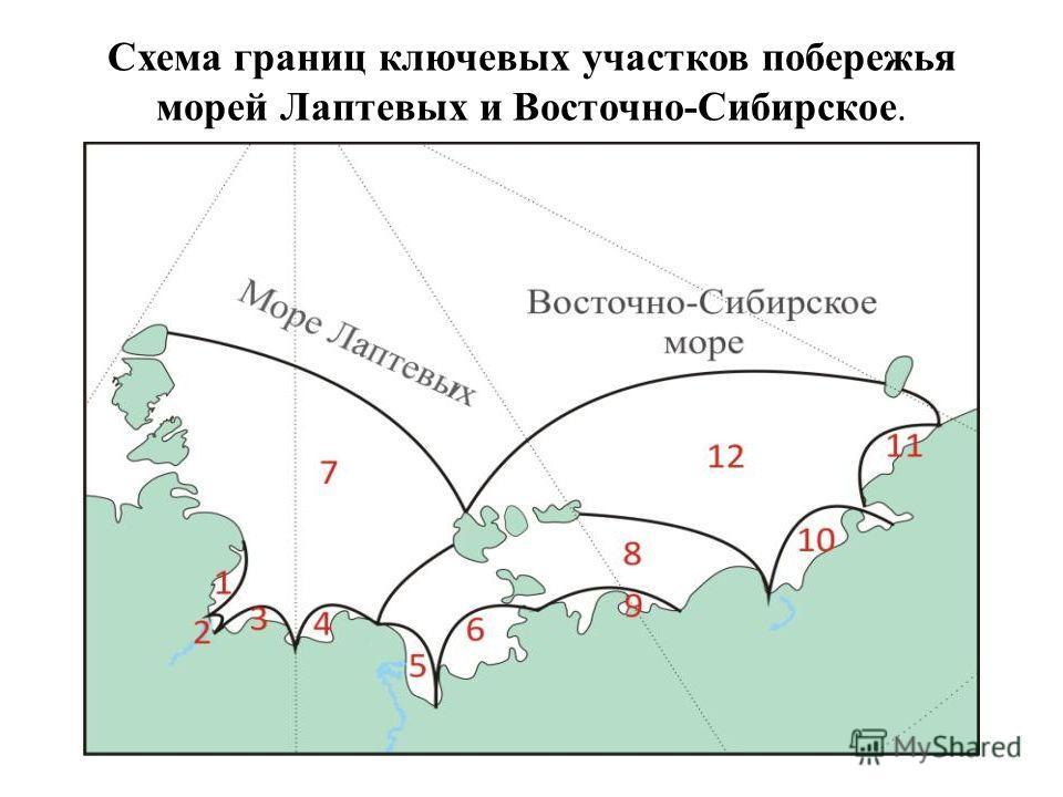 Схема границ ключевых участков побережья морей Лаптевых и Восточно-Сибирское.