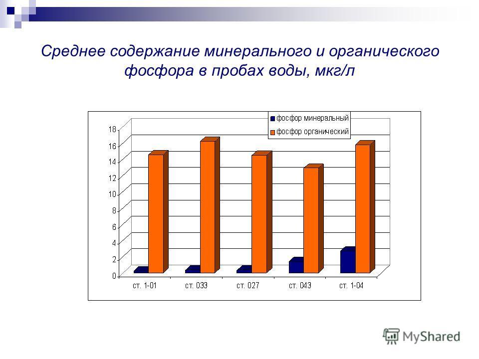 Среднее содержание минерального и органического фосфора в пробах воды, мкг/л