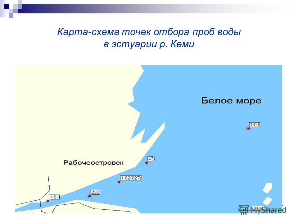 Карта-схема точек отбора проб воды в эстуарии р. Кеми