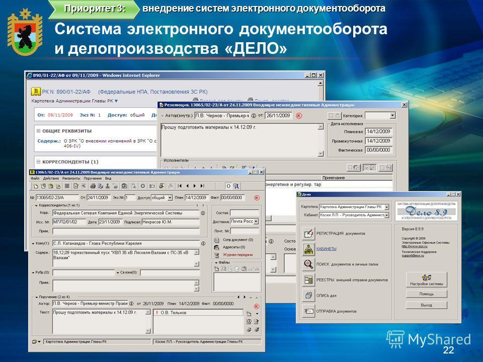 Система электронного документооборота и делопроизводства «ДЕЛО» 22 внедрение систем электронного документооборота Приоритет 3: