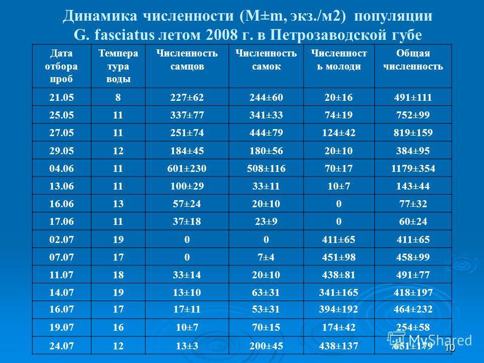 10 Динамика численности (M±m, экз./м2) популяции G. fasciatus летом 2008 г. в Петрозаводской губе Дата отбора проб Темпера тура воды Численность самцов Численность самок Численност ь молоди Общая численность 21.058227±62244±6020±16491±111 25.0511337±