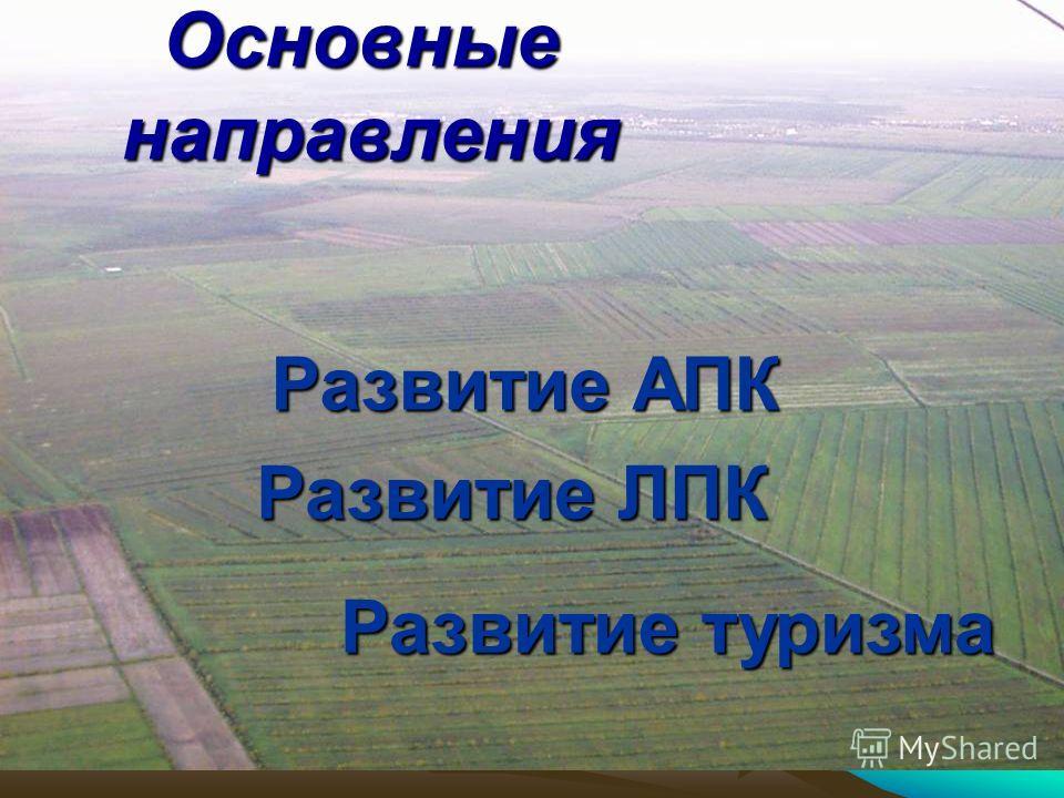 Основные направления Развитие ЛПК Развитие АПК Развитие туризма
