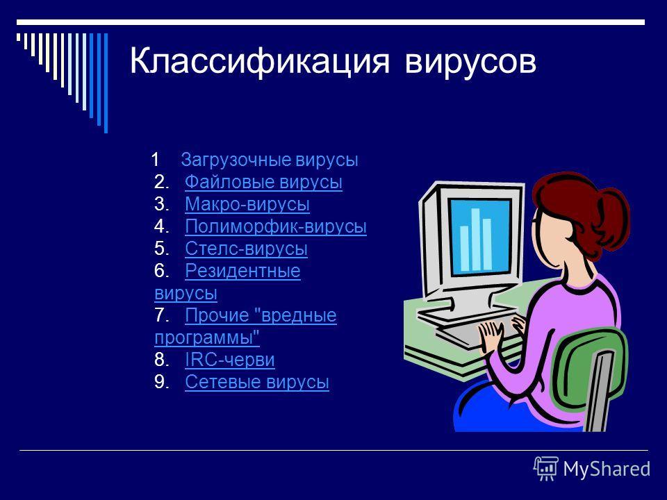 Классификация вирусов 1 Загрузочные вирусы 2. Файловые вирусы 3. Макро-вирусы 4. Полиморфик-вирусы 5. Стелс-вирусы 6. Резидентные вирусы 7. Прочие