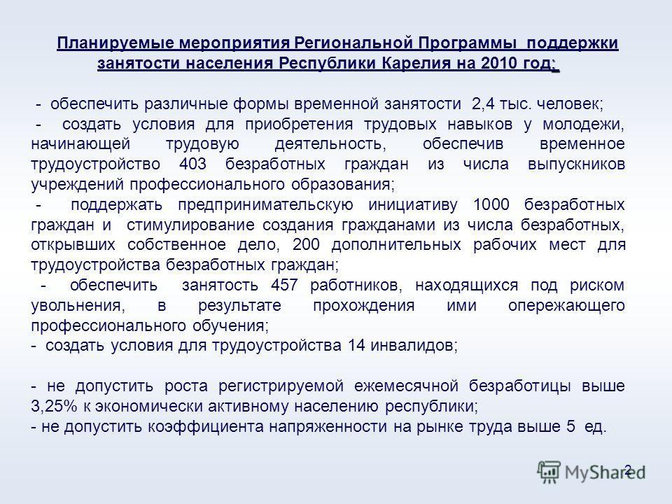 2 : Планируемые мероприятия Региональной Программы поддержки занятости населения Республики Карелия на 2010 год: - обеспечить различные формы временной занятости 2,4 тыс. человек; - создать условия для приобретения трудовых навыков у молодежи, начина