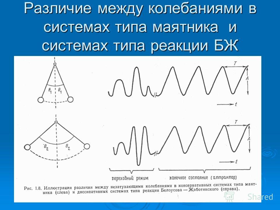 Различие между колебаниями в системах типа маятника и системах типа реакции БЖ