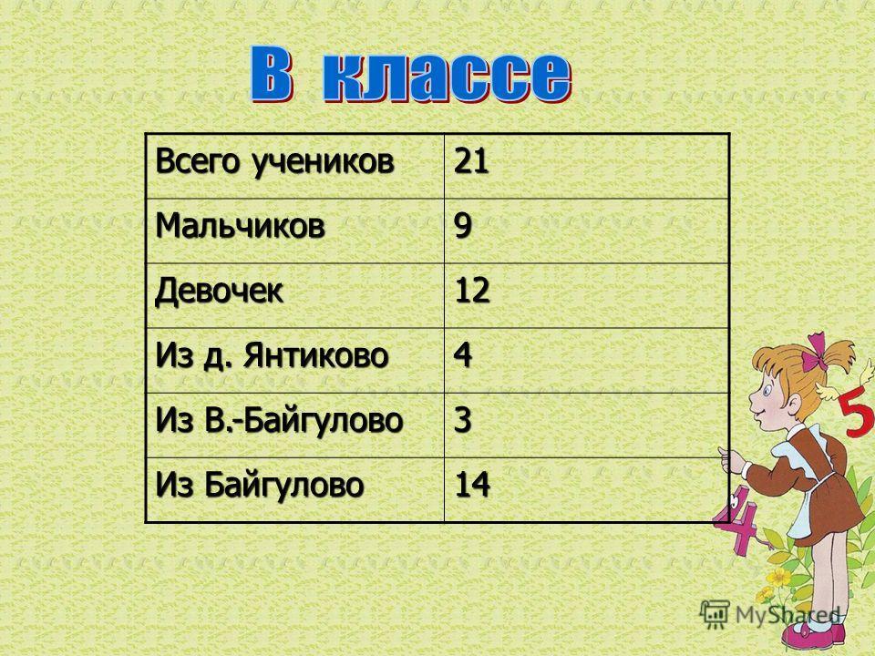 Всего учеников 21Мальчиков9 Девочек12 Из д. Янтиково 4 Из В.-Байгулово 3 Из Байгулово 14