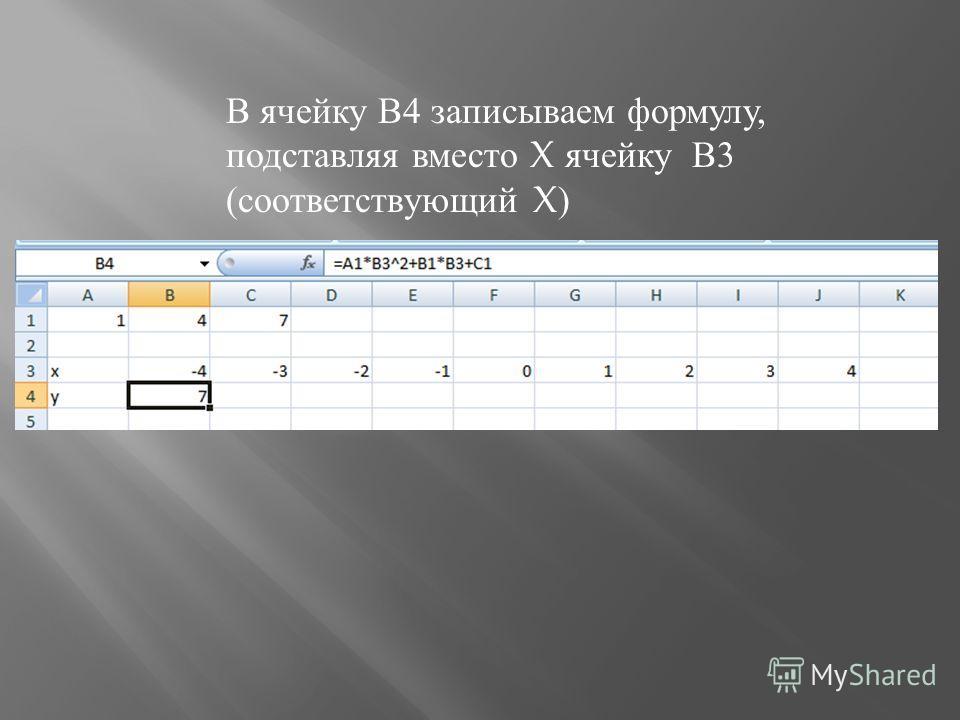 В ячейку В 4 записываем формулу, подставляя вместо X ячейку В 3 ( соответствующий X)