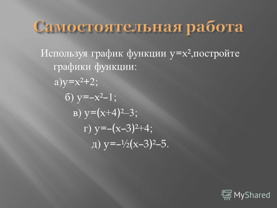 Используя график функции y=x², постройте графики функции : а )y=x²+2; б ) y=–x²–1; в ) y= x+4 ²–3; г ) y=– x–3 ²+4; д ) y=–½ x–3 ²–5.