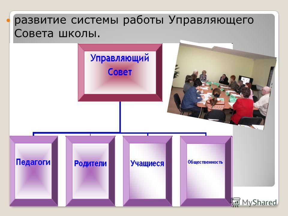развитие системы работы Управляющего Совета школы.