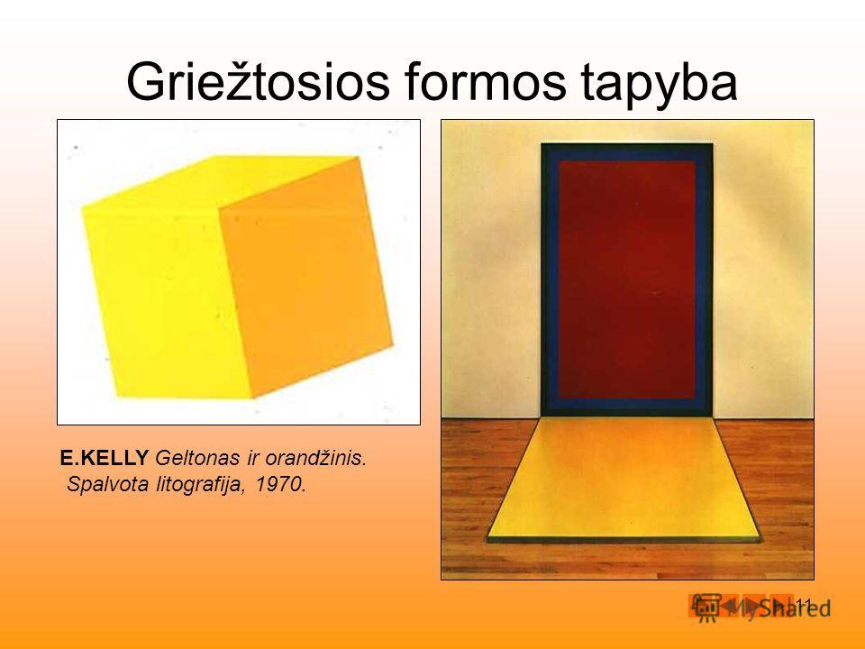 11 E.KELLY Geltonas ir orandžinis. Spalvota litografija, 1970. Griežtosios formos tapyba