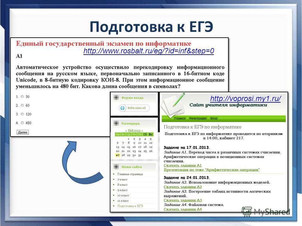 Подготовка к ЕГЭ http://www.rosbalt.ru/eg/?id=inf&step=0 http://voprosi.my1.ru/