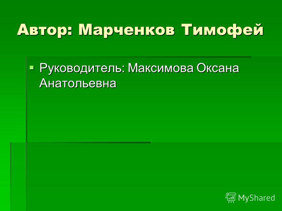 Автор: Марченков Тимофей Руководитель: Максимова Оксана Анатольевна Руководитель: Максимова Оксана Анатольевна