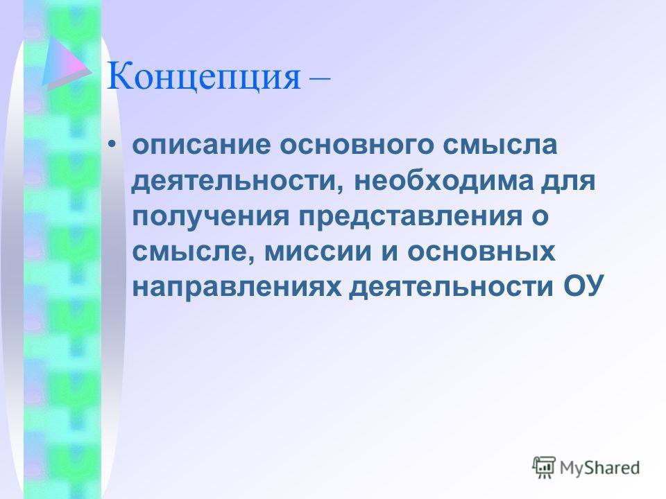 Концепция – описание основного смысла деятельности, необходима для получения представления о смысле, миссии и основных направлениях деятельности ОУ