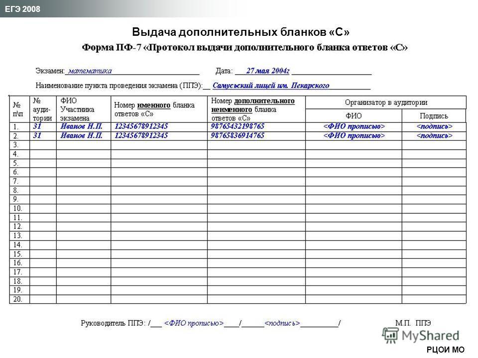 РЦОИ МО ЕГЭ 2008 Выдача дополнительных бланков «С»
