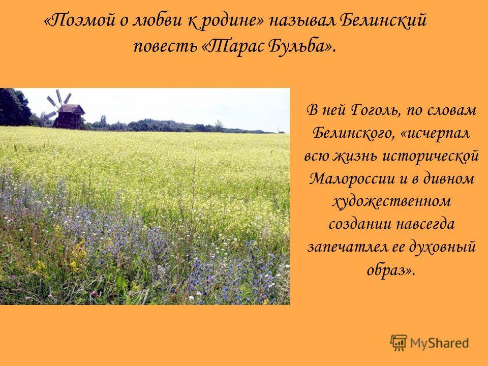 «Поэмой о любви к родине» называл Белинский повесть «Тарас Бульба». В ней Гоголь, по словам Белинского, «исчерпал всю жизнь исторической Малороссии и в дивном художественном создании навсегда запечатлел ее духовный образ».