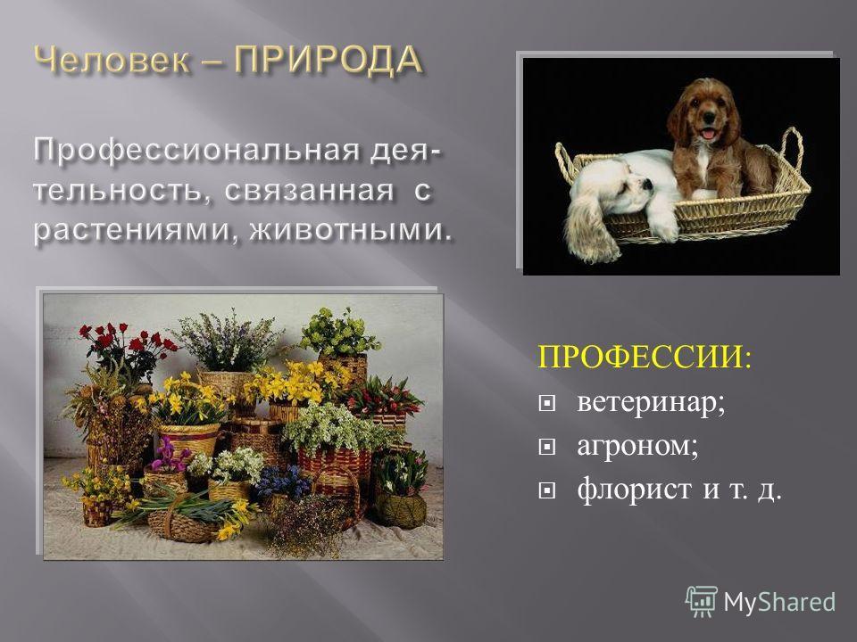 ПРОФЕССИИ : ветеринар ; агроном ; флорист и т. д.