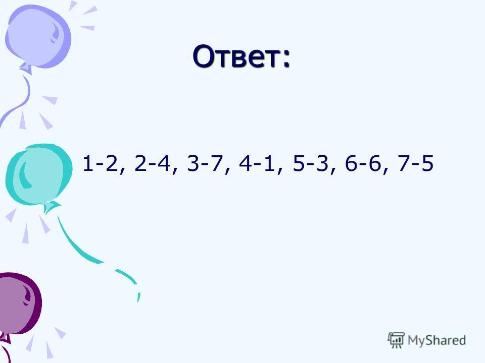 Ответ: 1-2, 2-4, 3-7, 4-1, 5-3, 6-6, 7-5