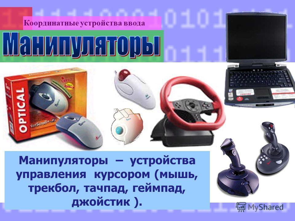 Манипуляторы – устройства управления курсором (мышь, трекбол, тачпад, геймпад, джойстик ). Координатные устройства ввода