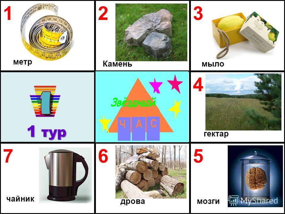 123 4 765 1 тур мозги мыло гектар дрова чайник метр Камень