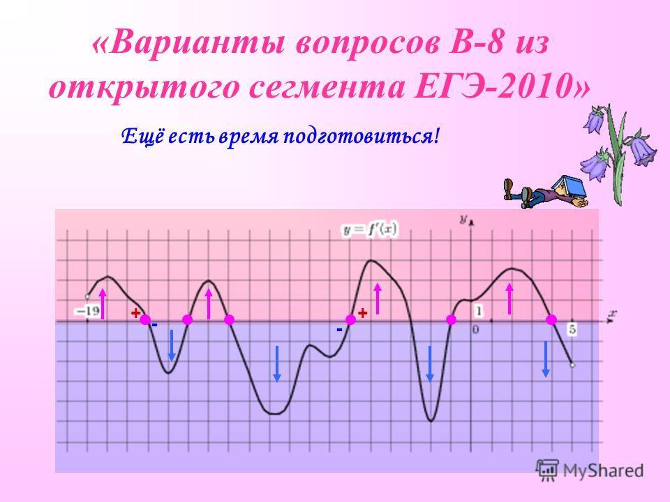 «Варианты вопросов В-8 из открытого сегмента ЕГЭ-2010» Ещё есть время подготовиться! + - + -