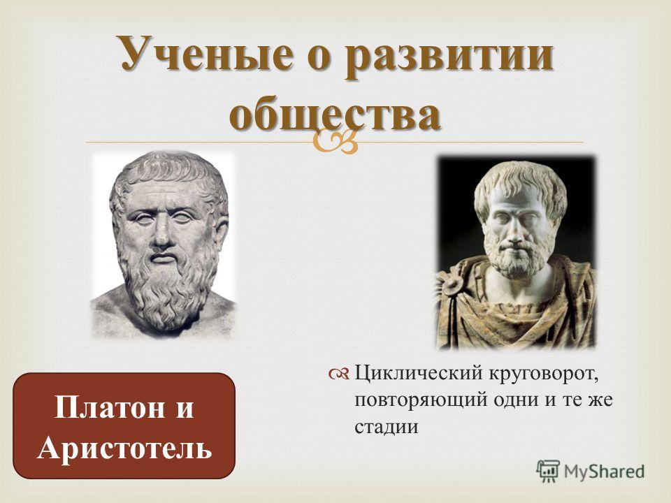 Циклический круговорот, повторяющий одни и те же стадии Ученые о развитии общества Платон и Аристотель