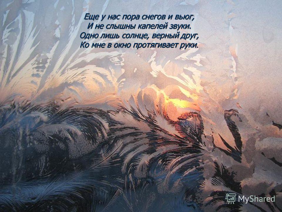 Еще у нас пора снегов и вьюг, И не слышны капелей звуки. Одно лишь солнце, верный друг, Ко мне в окно протягивает руки.