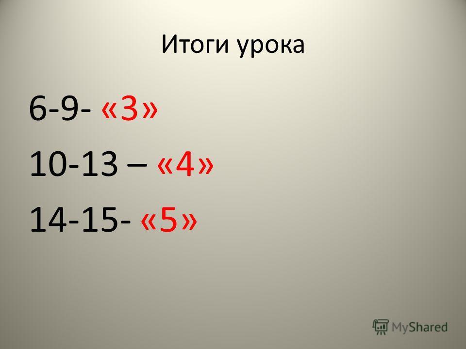 Итоги урока 6-9- «3» 10-13 – «4» 14-15- «5»