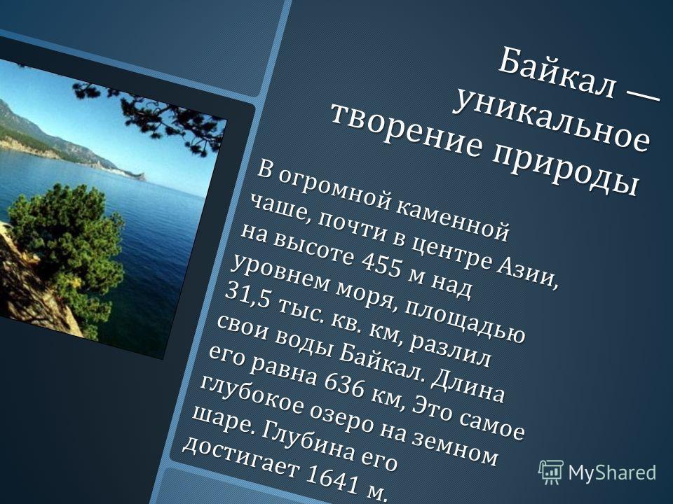 Байкал уникальное творение природы В огромной каменной чаше, почти в центре Азии, на высоте 455 м над уровнем моря, площадью 31,5 тыс. кв. км, разлил свои воды Байкал. Длина его равна 636 км, Это самое глубокое озеро на земном шаре. Глубина его дости