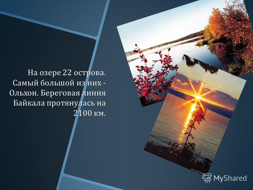 На озере 22 острова. Самый большой из них - Ольхон. Береговая линия Байкала протянулась на 2100 км.
