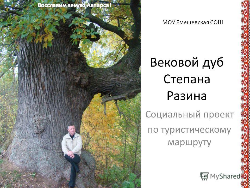 Социальный проект по туристическому маршруту МОУ Емешевская СОШ Вековой дуб Степана Разина