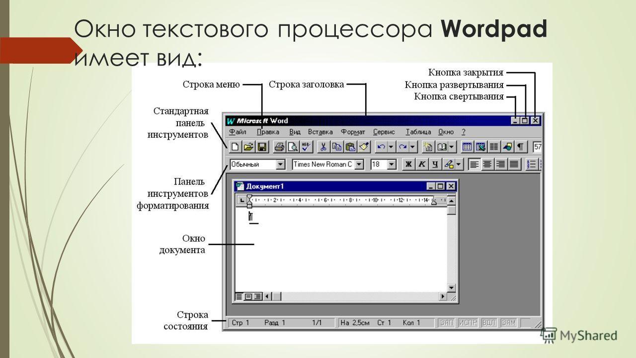 Окно текстового процессора Wordpad имеет вид: