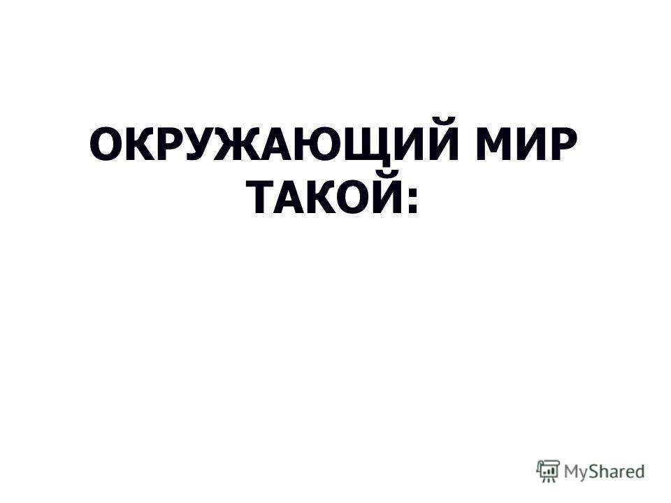 ОКРУЖАЮЩИЙ МИР ТАКОЙ: