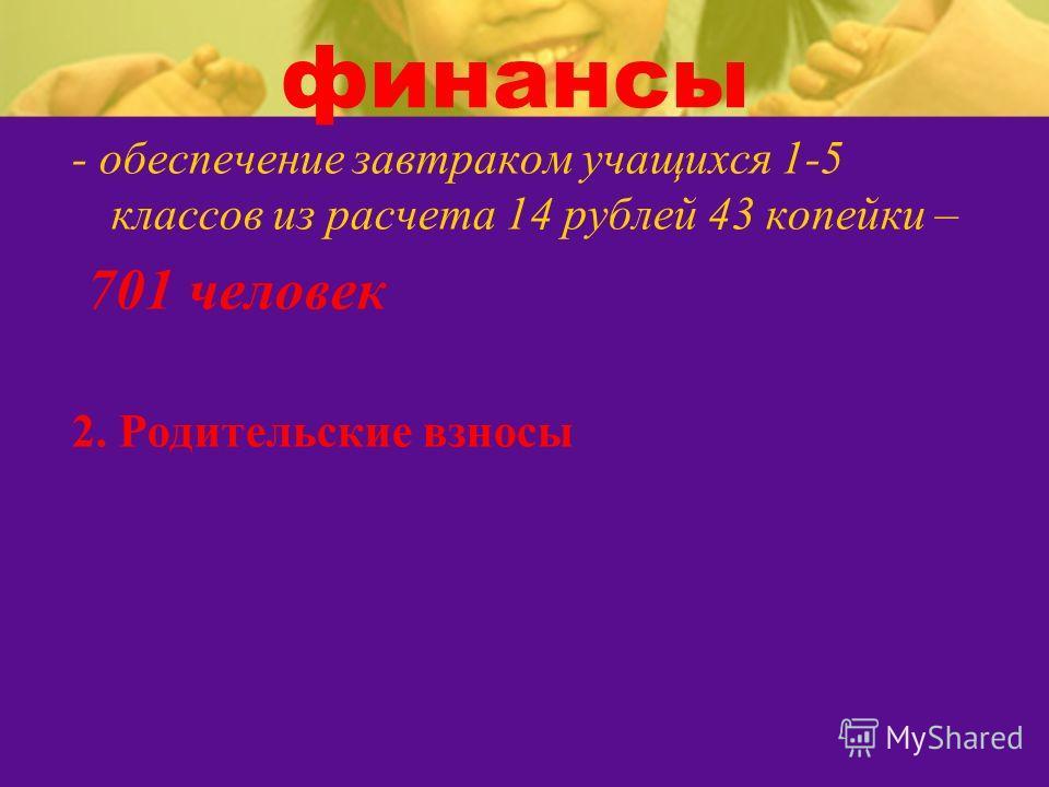 финансы - обеспечение завтраком учащихся 1-5 классов из расчета 14 рублей 43 копейки – 701 человек 2. Родительские взносы