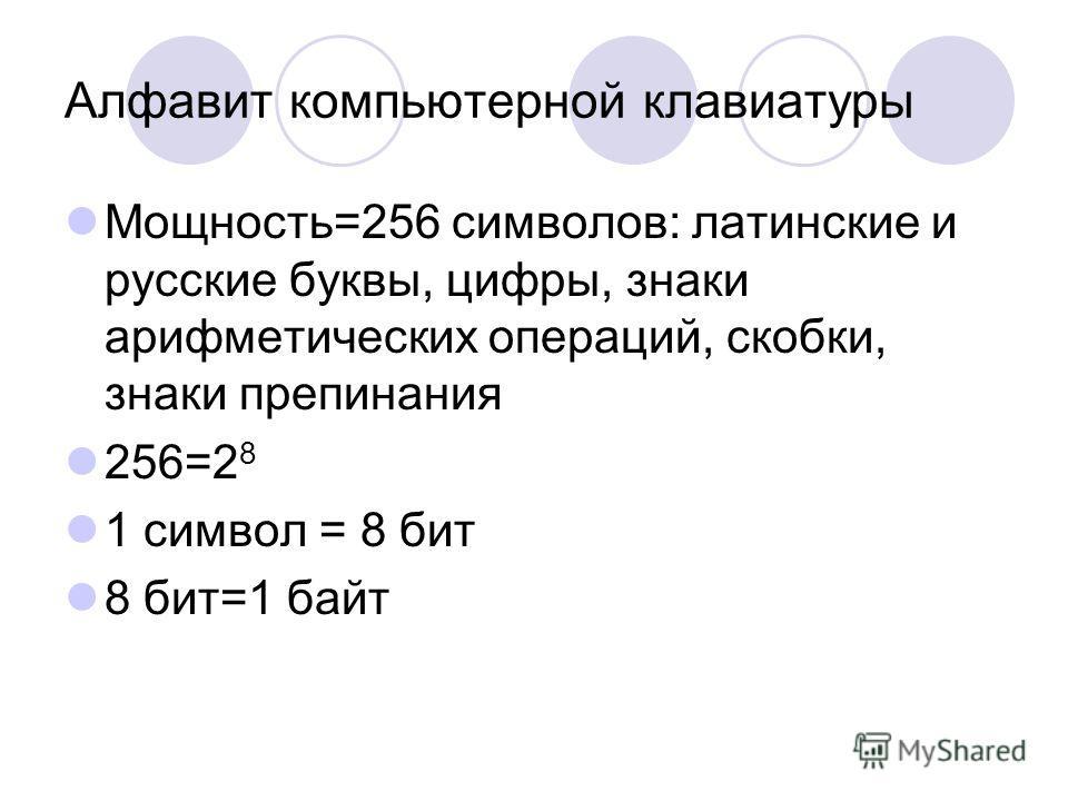 Алфавит компьютерной клавиатуры Мощность=256 символов: латинские и русские буквы, цифры, знаки арифметических операций, скобки, знаки препинания 256=2 8 1 символ = 8 бит 8 бит=1 байт