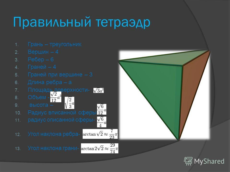 Правильный тетраэдр 1. Грань – треугольник 2. Вершин – 4 3. Ребер – 6 4. Граней – 4 5. Граней при вершине – 3 6. Длина ребра – a 7. Площадь поверхности- 8. Объем - 9. высота – 10. Радиус вписанной сферы- 11. радиус описанной сферы- 12. Угол наклона р