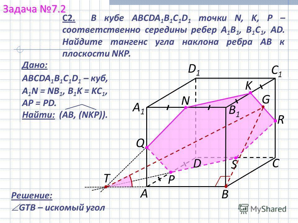 В Задача 7.2 С А1А1 С1С1 D1D1 С2. В кубе ABCDA 1 B 1 C 1 D 1 точки N, K, P – соответственно середины ребер A 1 B 1, В 1 С 1, АD. Найдите тангенс угла наклона ребра АВ к плоскости NКР. N P А Q Дано: ABCDA 1 B 1 C 1 D 1 – куб, A 1 N = NB 1, B 1 K = KC